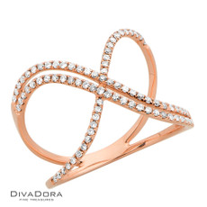 14 K DIAMOND RIBBON RING - RG18971
