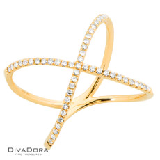 14 K DIAMOND RIBBON RING - RG18974
