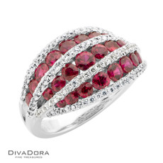 14 K RUBY & DIAMOND BAND - RG13922