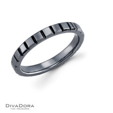 14k black rhodium wedding band - DWB6590