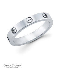 14k white gold wedding band - DWB6585