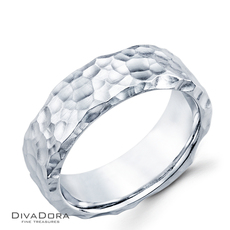 14k white gold wedding band - DWB1950