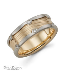 Yellow and white 14K solid gold  wedding band DC6509Y