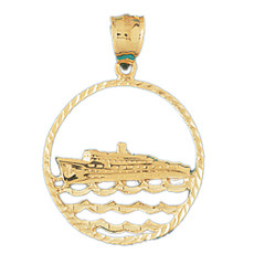 Cruise Ship 14K Gold Charm - DZCH-1142