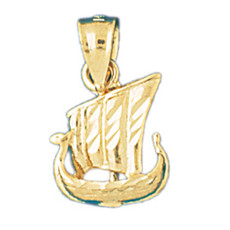 3-D Pirate Ship 14K Gold Charm - DZCH-1276