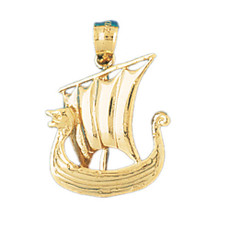 3-D Pirate Ship 14K Gold Charm - DZCH-1277