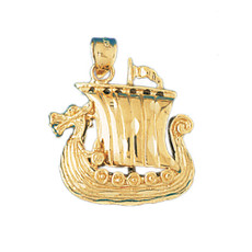3-D Pirate Ship 14K Gold Charm - DZCH-1278