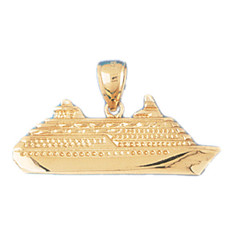 Cruise Ship 14K Gold Charm - DZCH-1287