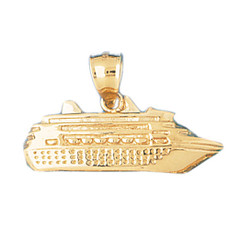 Cruise Ship 14K Gold Charm - DZCH-1288