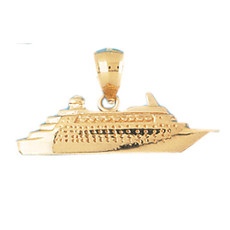 Cruise Ship 14K Gold Charm - DZCH-1289
