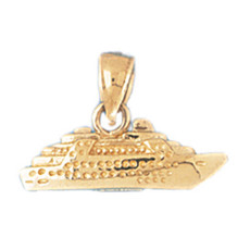 3-D Cruise Ship 14K Gold Charm - DZCH-1290