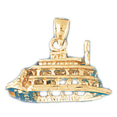Cruise Ship 14K Gold Charm - DZCH-1293
