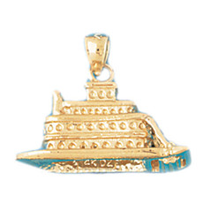 Cruise Ship 14K Gold Charm - DZCH-1294