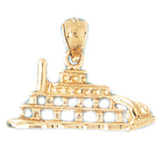Cruise Ship 14K Gold Charm - DZCH-1295