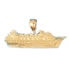 Cruise Ship 14K Gold Charm - DZCH-1296