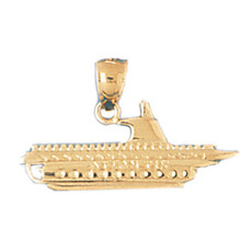 Cruise Ship 14K Gold Charm - DZCH-1297