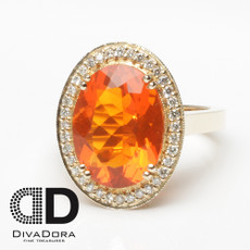 5.02ct Mexican Fire Opal in 14K Solid Yellow Gold
