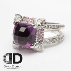7.08ct Amethyst & Diamond Ring
