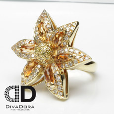 18K Citrine & Diamond Flower Statement Ring