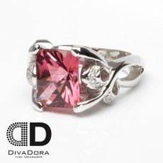 6.04ct Pink Tourmaline & Diamond Ring