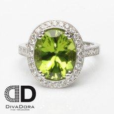 5.01ct Peridot & Diamond Ring
