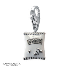 3-D Sterling Silver Enamel Potato Chips Charm 30126