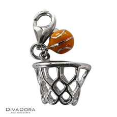 3-D Sterling Silver Enamel Basketball and Hoop Charm 30139