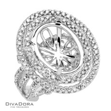 18 K OVAL DOUBLE HALO - RG13512