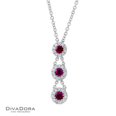 14 K RUBY & DIAMOND PENDANT - PD13195