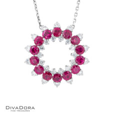 14 K RUBY & DIAMOND PENDANT - PD15536