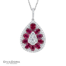 14 K RUBY & DIAMOND PENDANT - PD15949