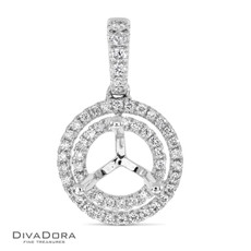 14 K ROUND DOUBLE HALO PENDANT - PD15840