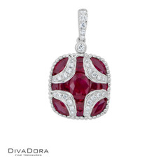 14 K RUBY & DIAMOND PENDANT - PD16244