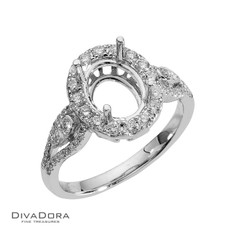 14K Oval Halo Diamond Engagement Ring - DDRG19448