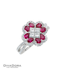 14 K RUBY & DIAMOND RING - RG19340