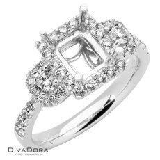 14 K PRINCESS 3-STONE HALO - RG19093
