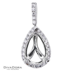 18 K PEAR SHAPED HALO PEND - PD11867