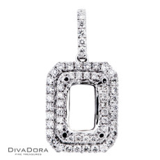 18 K RADIANT DOUBLE HALO PENDANT - PD16101