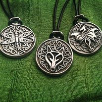 Celtic dragon, wolf and dragonfly pendants