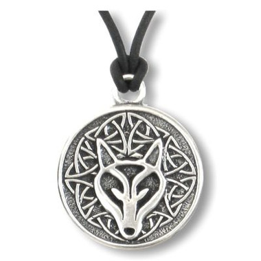 Celtic Wolf Spirit Wolf Pewter Necklace