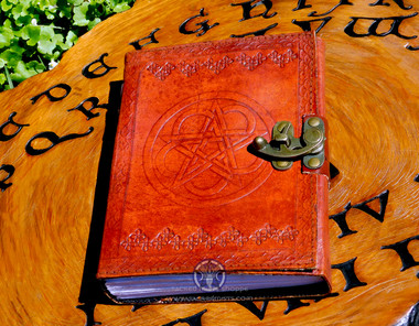 Leather bound, Celtic Pentacle Book of Shadows