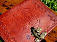 Leather bound, Celtic Pentacle Journal and Book of Shadows.  Close up of the cover