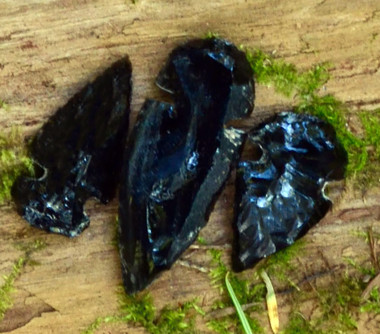 Samples of Obsidian Arrowheads