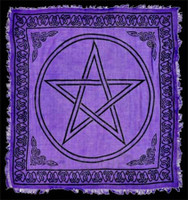 Purple pentacle altar cloth.
