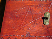 Pentacle and Besom Leather Book of Shadows