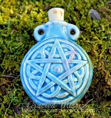 Raku Style Celtic Pentacle Potion Bottle