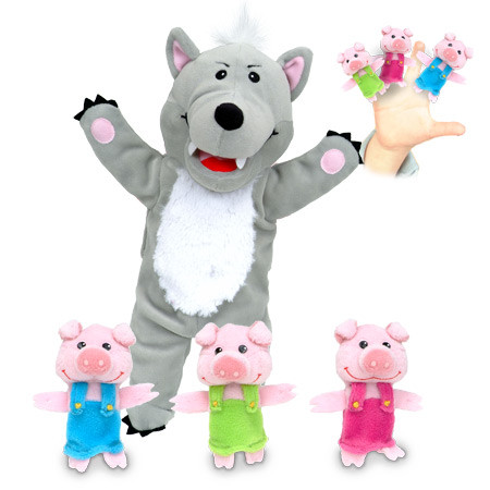 Three Little Pigs and the Big Bad Wolf Puppet Set