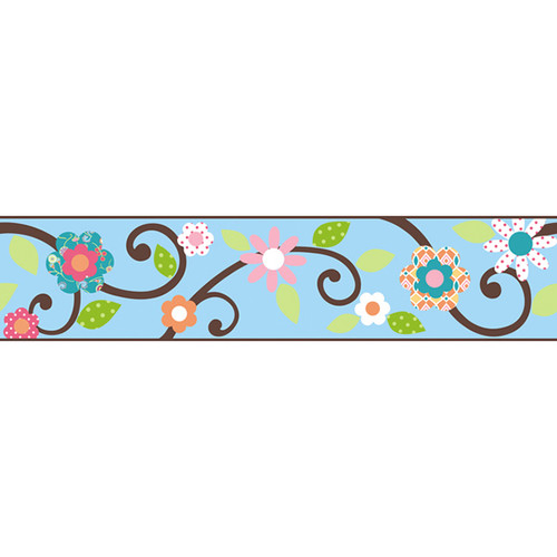 Scroll Tree Border Blue and Brown Wall Stickers - Kids Wall Stickers