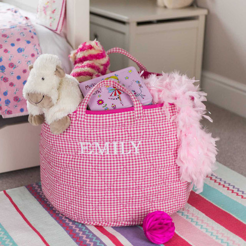Pink Gingham Round Storage Bag - Personalised