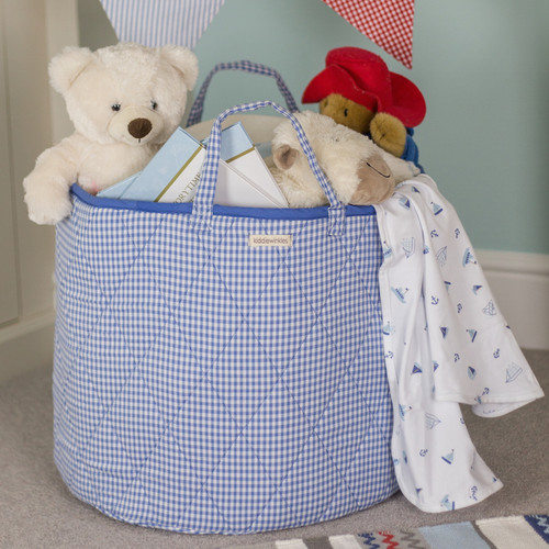 Blue Gingham Round Storage Bag